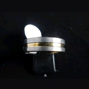 Other - Men Silver Gold Stainless Steel Ring Sz 12.5